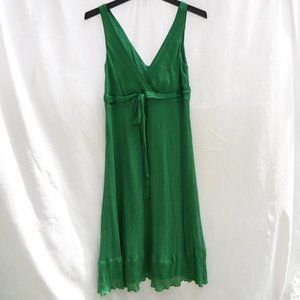 J Crew Emerald Green Crepe Silk Midi Dress Size 6